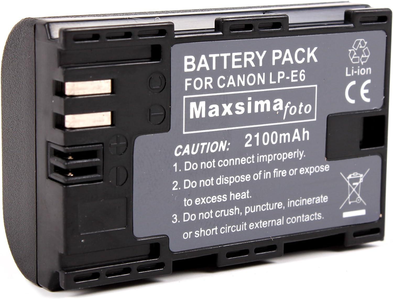 Maxsimafoto - 2100mAh Battery Pack LP-E6 Compatible With Canon: Amazon.es: Electrónica