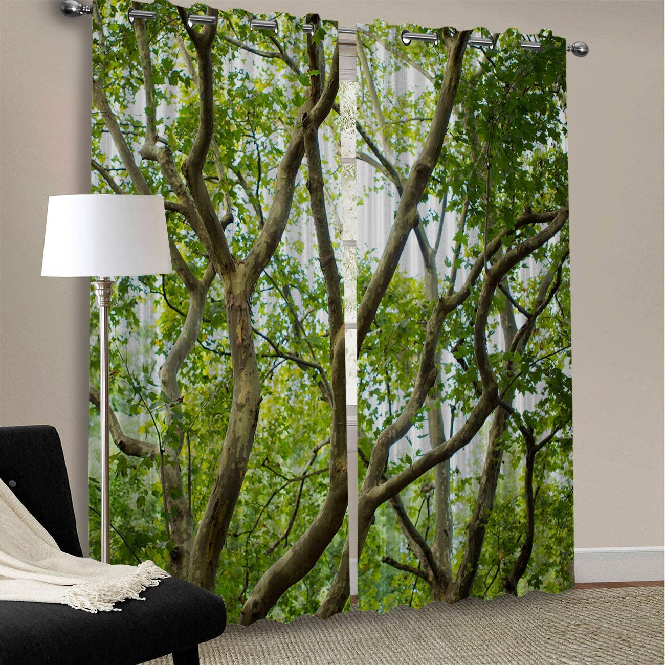 Blackout Curtains for Bedroom Thermal Insulated Room Darkening Grommet Window Treatment Drapes Living Room – 2 Panels Set,Green Tree Forest Woodland Spring Natural Scenery Art Print 52 x 84