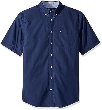 b65d1688d Tommy Hilfiger Men's Big and Tall Button Down Short Sleeve Shirt Maxwell,  Blue, ...