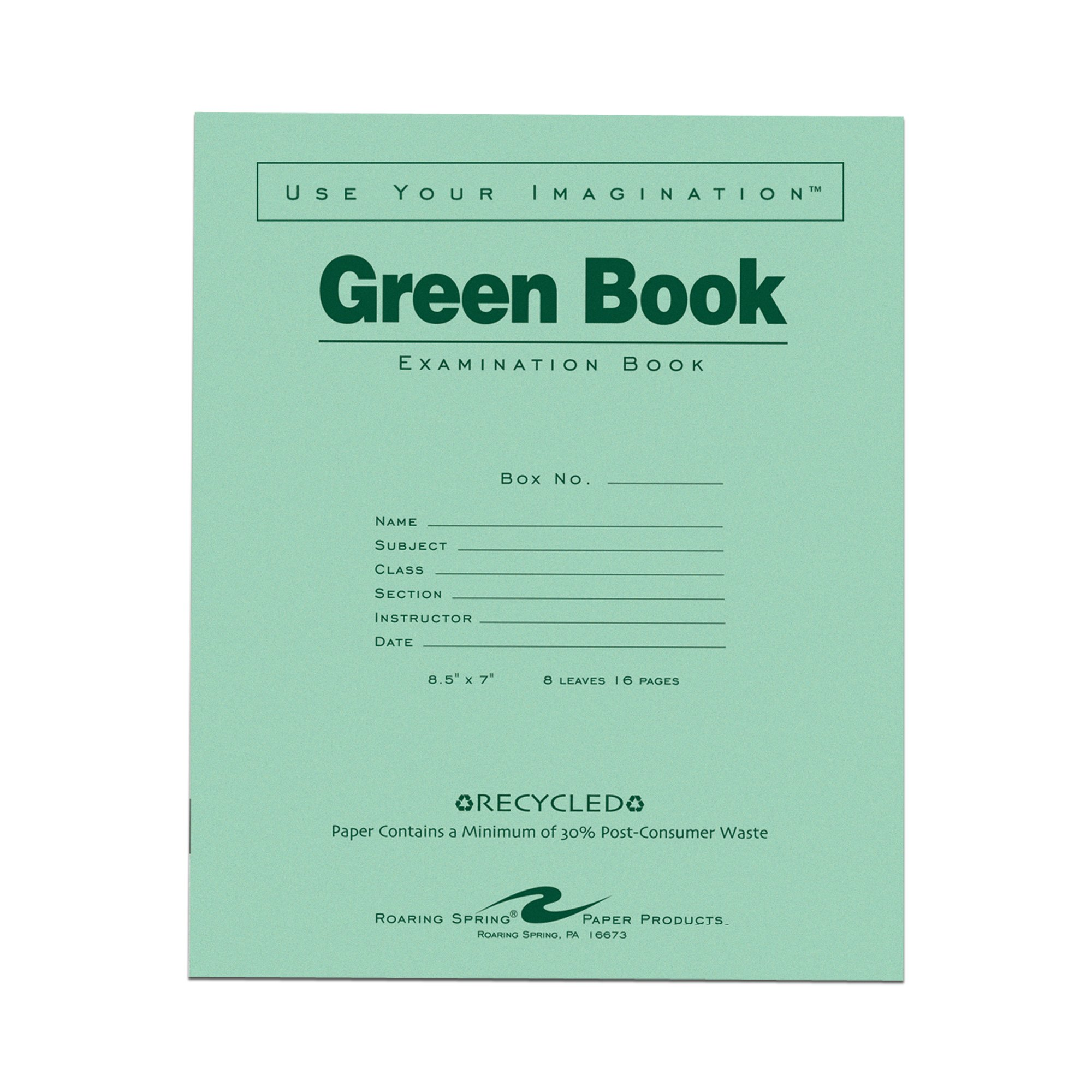 Roaring Spring Recycled Exam Book, 8.5'' x 7'', 8 sheets/16 pages.
