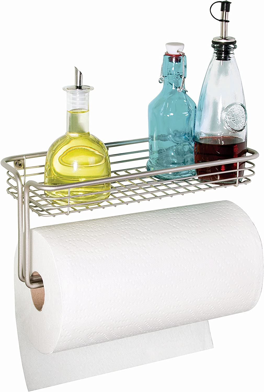 Portarotolo cucina ideale anche come porta carta igienica Porta rotolo carta da cucina con vano portaoggetti Metallo argento opaco InterDesign Classico Porta rotoli da parete