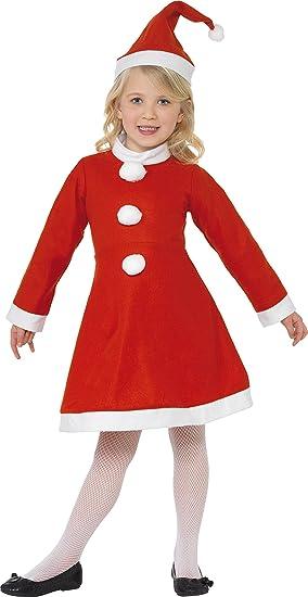 Smiffys Disfraz de niña de Mamá Noel, Rojo, con vestido y gorro