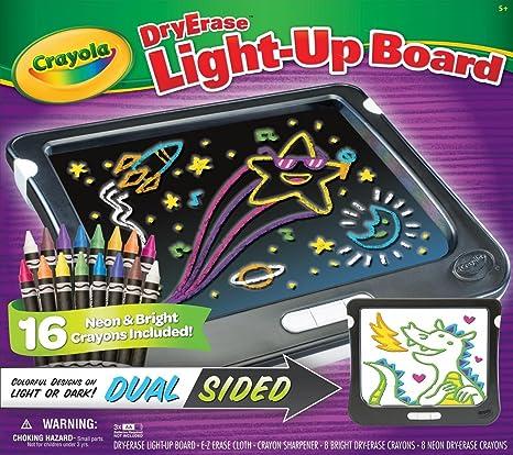 amazon com crayola dry erase light up board dual sided 16 neon