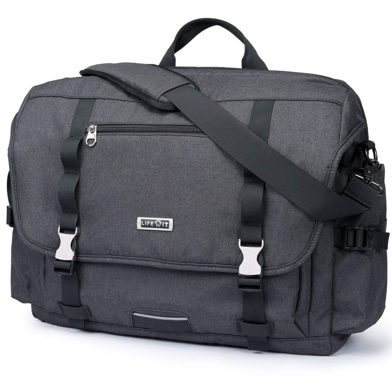 "Lifewit 17.3"" Men's Military Laptop Messenger Bag Multi-functional Tactical Briefcase Computer Shoulder Handbags, Black (Black 17'') Black (Black 17'')"