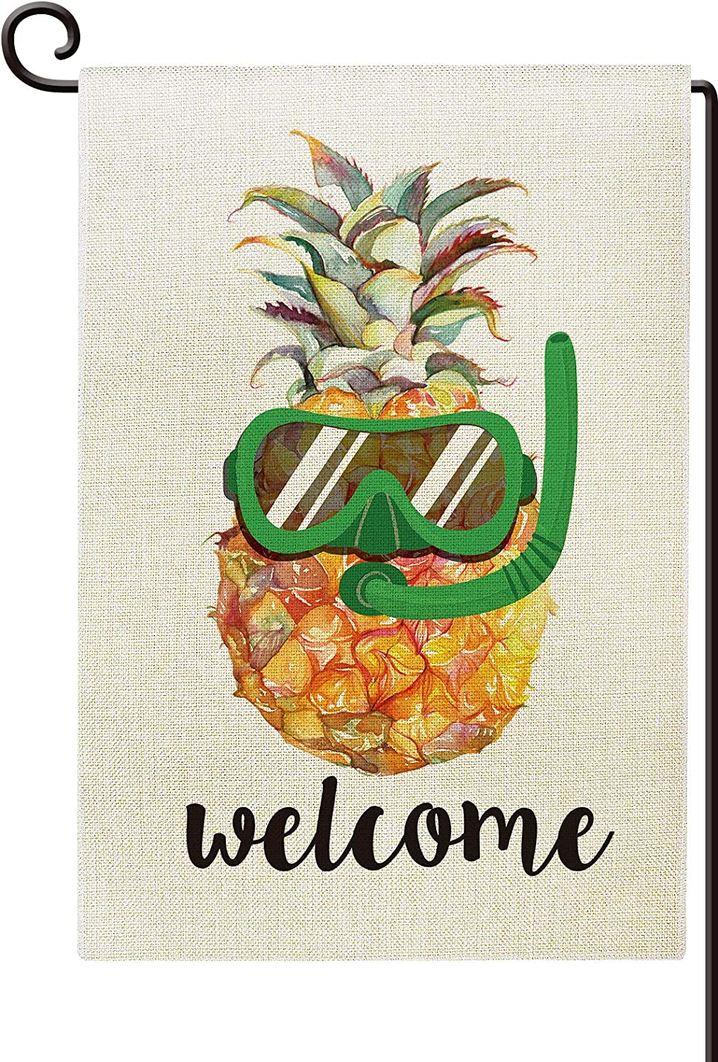 Agantree Art Welcome Pineapple Waterproof Garden Flag Double Sided Summer Yard Outdoor Decorative 12 x 18 Inch