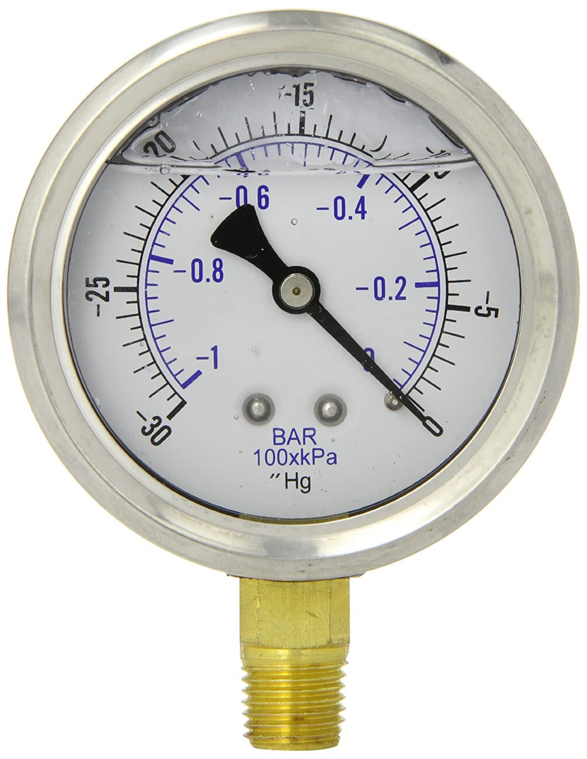 PIC Gauge PRO 201L 254A Glycerin Filled Industrial Bottom Mount Pressure Gauge with Stainless Steel Case Brass Internals Plastic Lens 2 1 2 Dial Size 1 4 Male NPT Connection 30 0 hg Vac psi