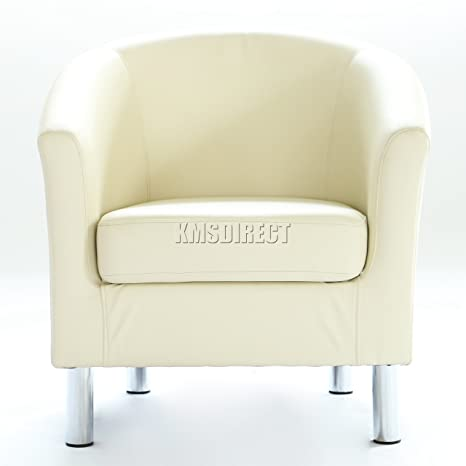 Strange Westwood Modern Tub Chair Armchair Seater Upholstered Pu Faux Leather Chrome Leg Home Dining Living Room Lounge Office Reception Cream Dailytribune Chair Design For Home Dailytribuneorg