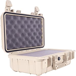 """Condition 1 13"""" Waterproof Protective Hard Case with Foam, Tan - 13"""" x 9"""" x 5"""" #232 Watertight IP67 Dust Proof and Shock Proof TSA Approved Portable Carrier"""