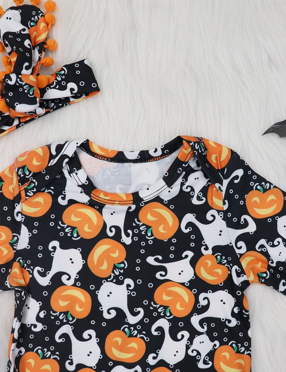 My First Halloween Outfit Sets Newborn Pumpkin Bodysuit with Headband Baby Girls Clothes(0-3M by Okgirl (Image #4)