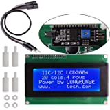for Arduino UNO R3 MEGA 2560, Longruner 20x4 LCD Display Module IIC/I2C/TWI Serial 2004 with Screen Panel Expansion Board White on Blue, 4 pin Jump Cables Wire Included LK51