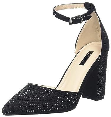 97902ba98 Quiz Women s Black Diamante Block Heel Ankle Strap Sandals  Amazon ...