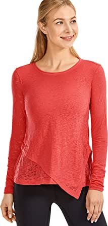 CRZ YOGA Women's Burnout Cottony-Soft Sports Shirt Classic Fit Double Layer Long Sleeve Top