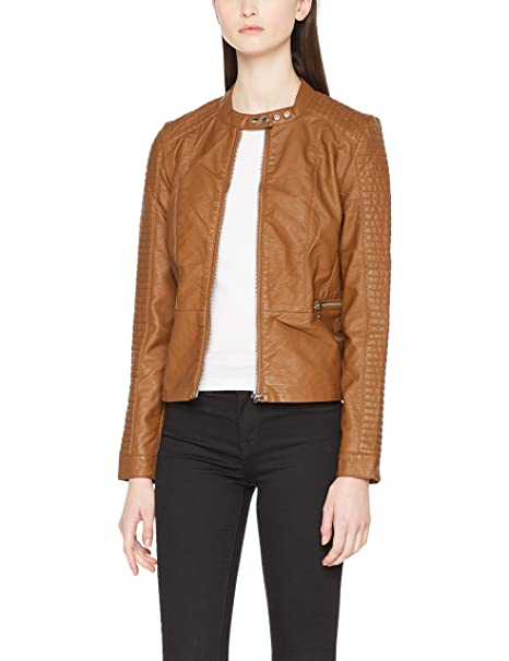 Only Onlheart Faux Leather Jacket Otw Noos, Chaqueta para Mujer, Negro (Black Black), Small (Talla del fabricante: 36)