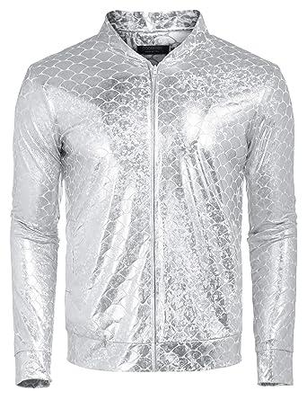 436d48602ab COOFANDY Mens Sequin Jacket Zip Up Baseball Varsity Bomber Sparkle Metallic  Party Nightclub Disco Jacket at Amazon Men s Clothing store
