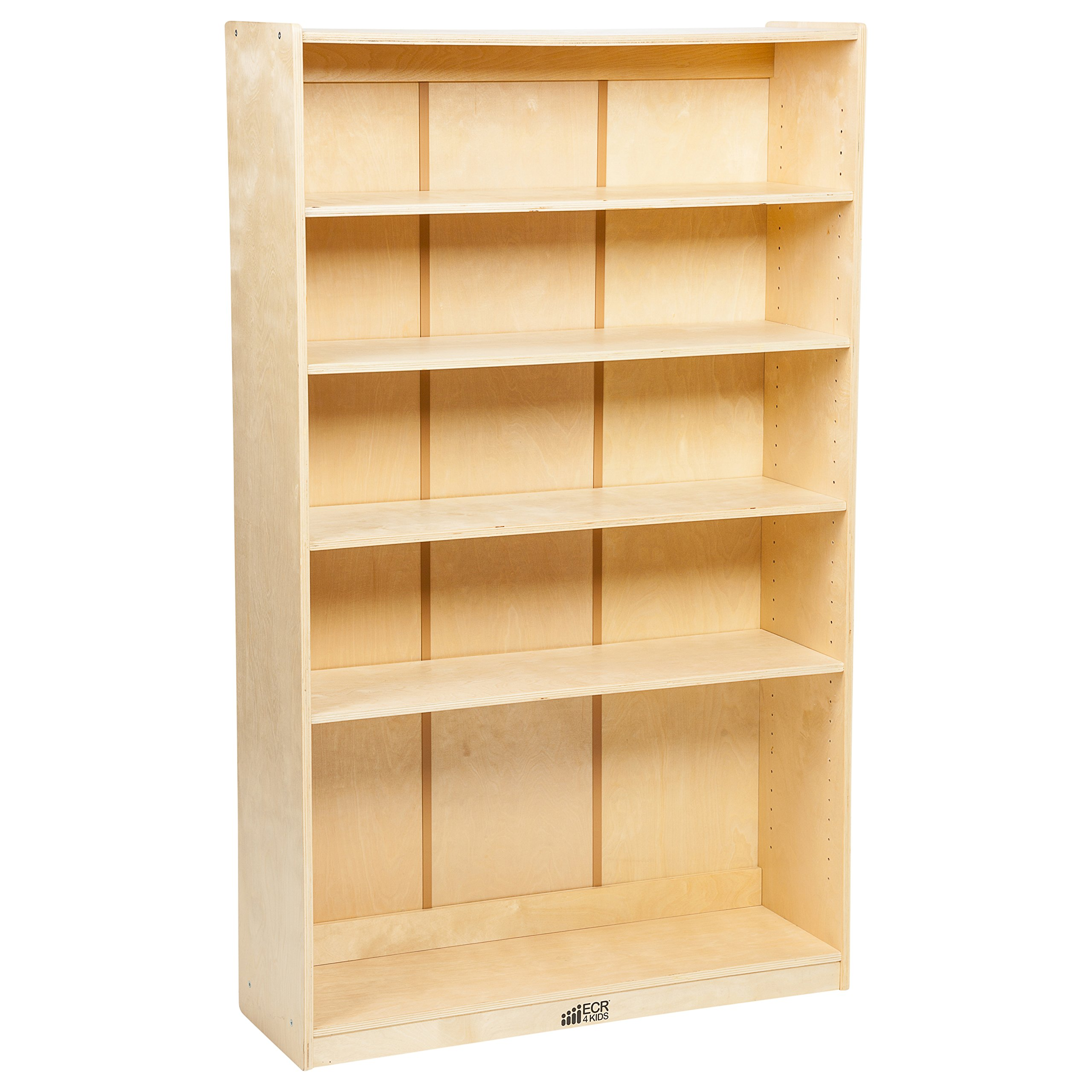ECR4Kids Birch Hardwood School Bookcase, Adjustable Shelves, Natural, 60'' H