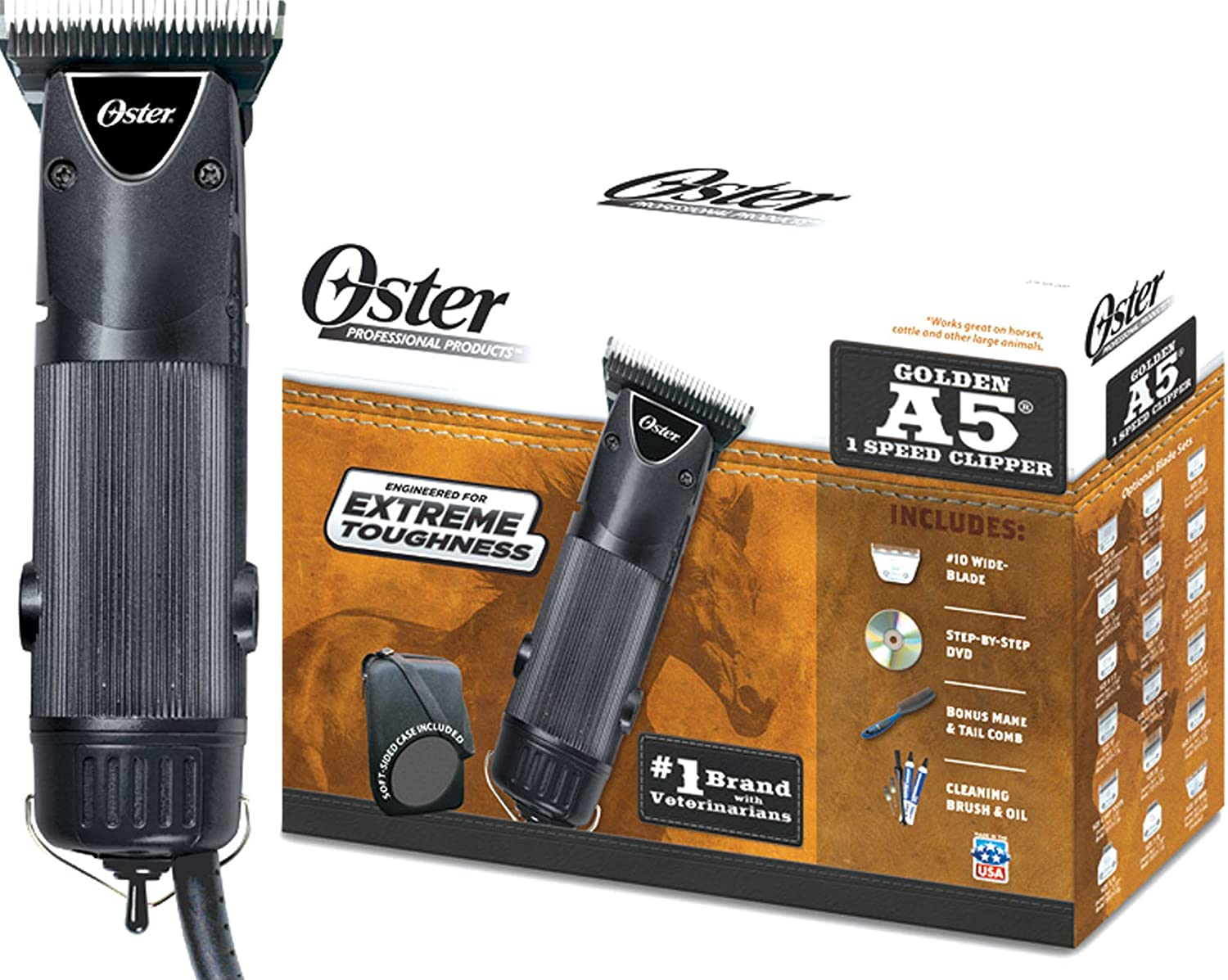 Oster 078705-000 Equine Care Series Golden A5 Single Speed Clipper, Indigo 118627