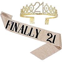 """""""Finally 21"""" Birthday Sash & Tiara Set - 21st Birthday Gifts Birthday Sash for Women Fun Party Favors Birthday Party…"""