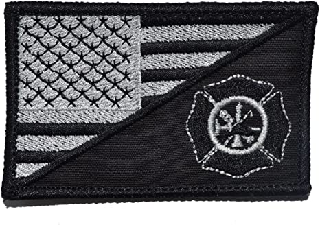 Firefighter Maltese Cross USA Flag 2.25x3.5 Military//Morale Patch Hook Backing