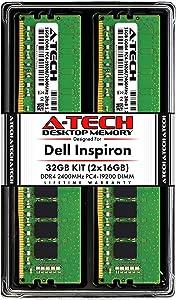 A-Tech 32GB (2x16GB) RAM for Dell Inspiron 3268, 3668, 5675, 5676 | DDR4 2400MHz DIMM PC4-19200 288-Pin Non-ECC UDIMM Desktop Max Memory Upgrade Kit