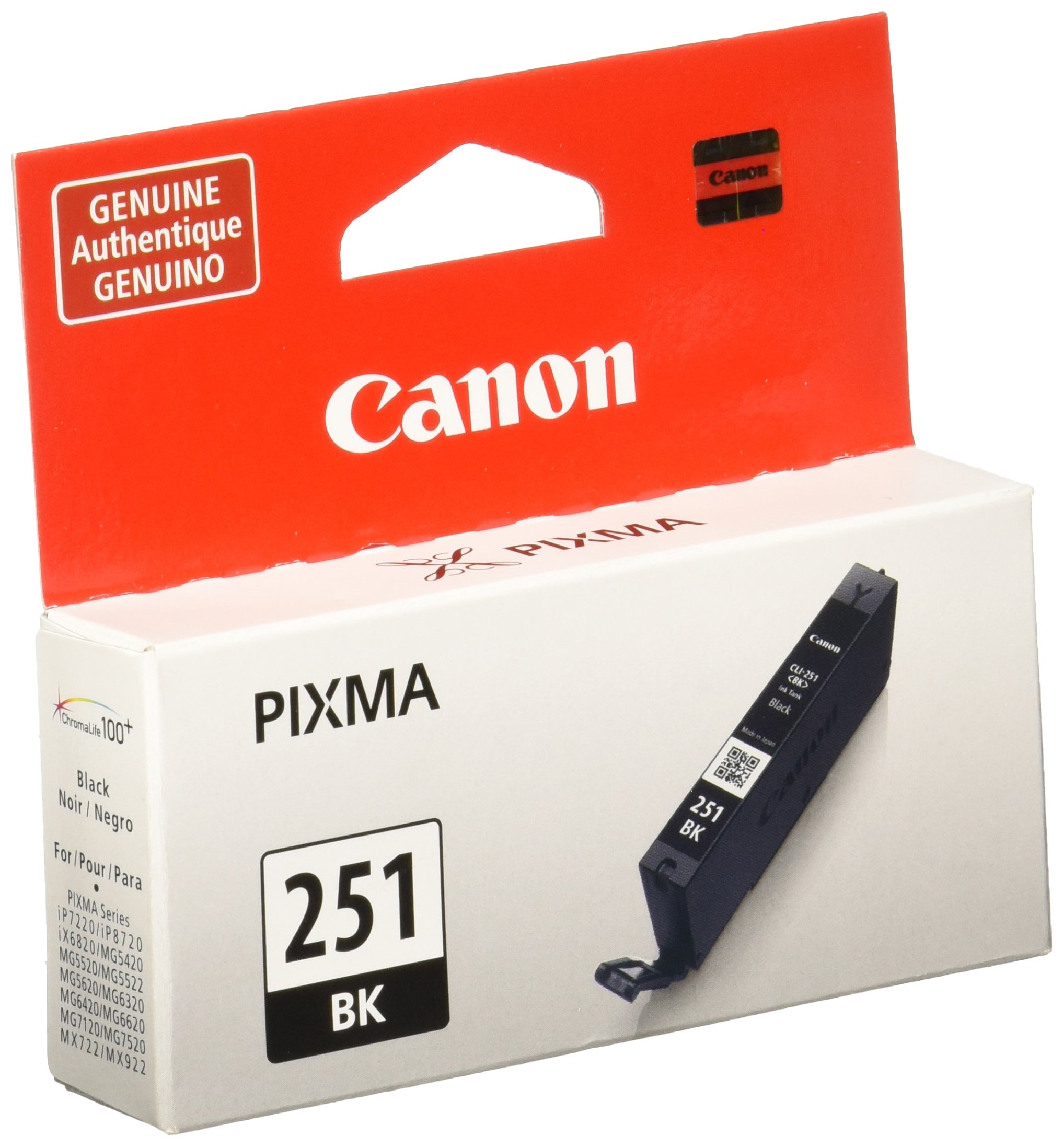 Canon CLI-251 Black Invidivudla Ink Tank, Compatible for MX922,iP8720,iX6820,MG7520, MG6420, MG5620, and MG5721 Printers
