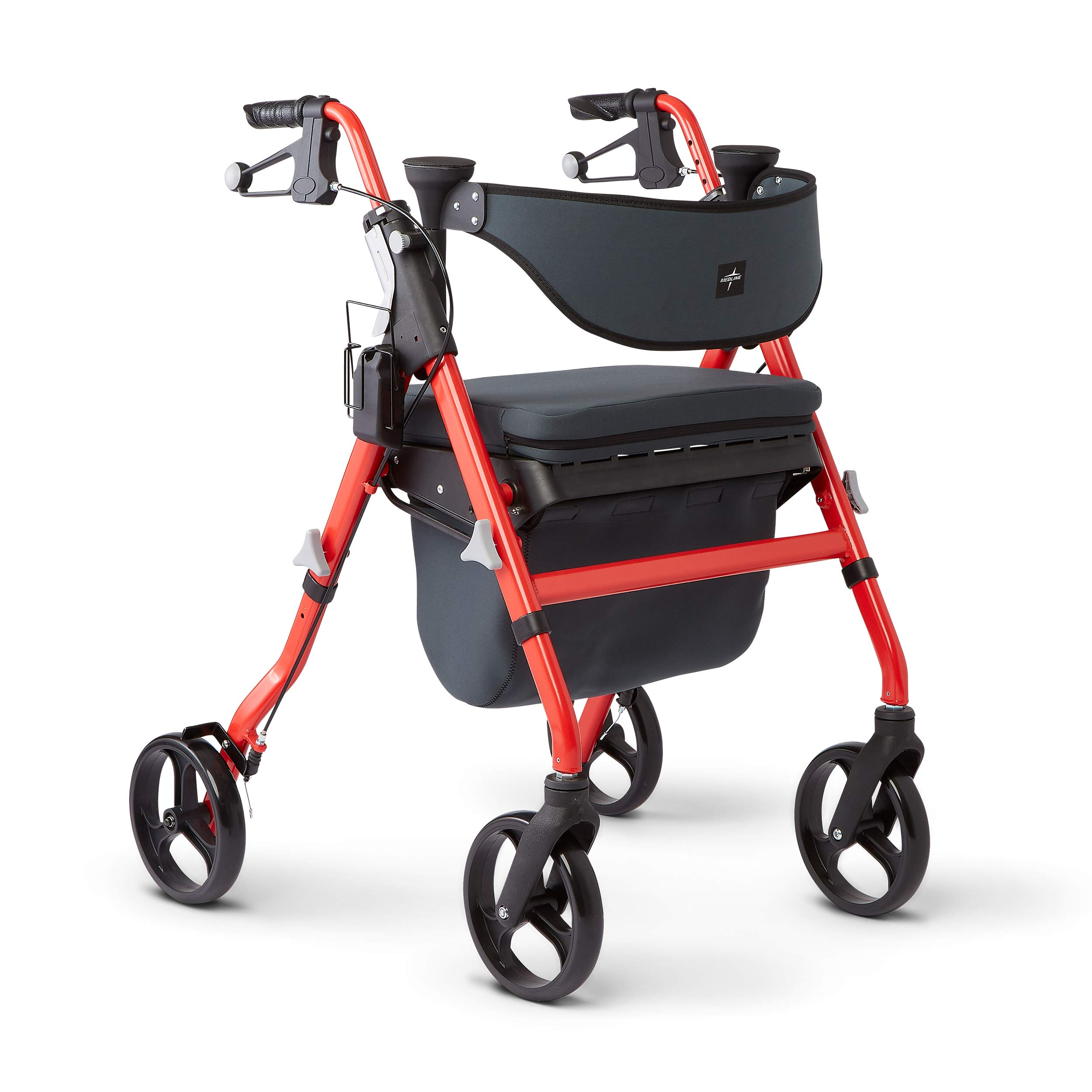 Medline Premium Empower Rollator Walker with Seat, Comfort Handles and Thick Backrest, Folding Walker for Seniors, Microban Antimicrobial Protection, 8'' Wheels, Red Frame