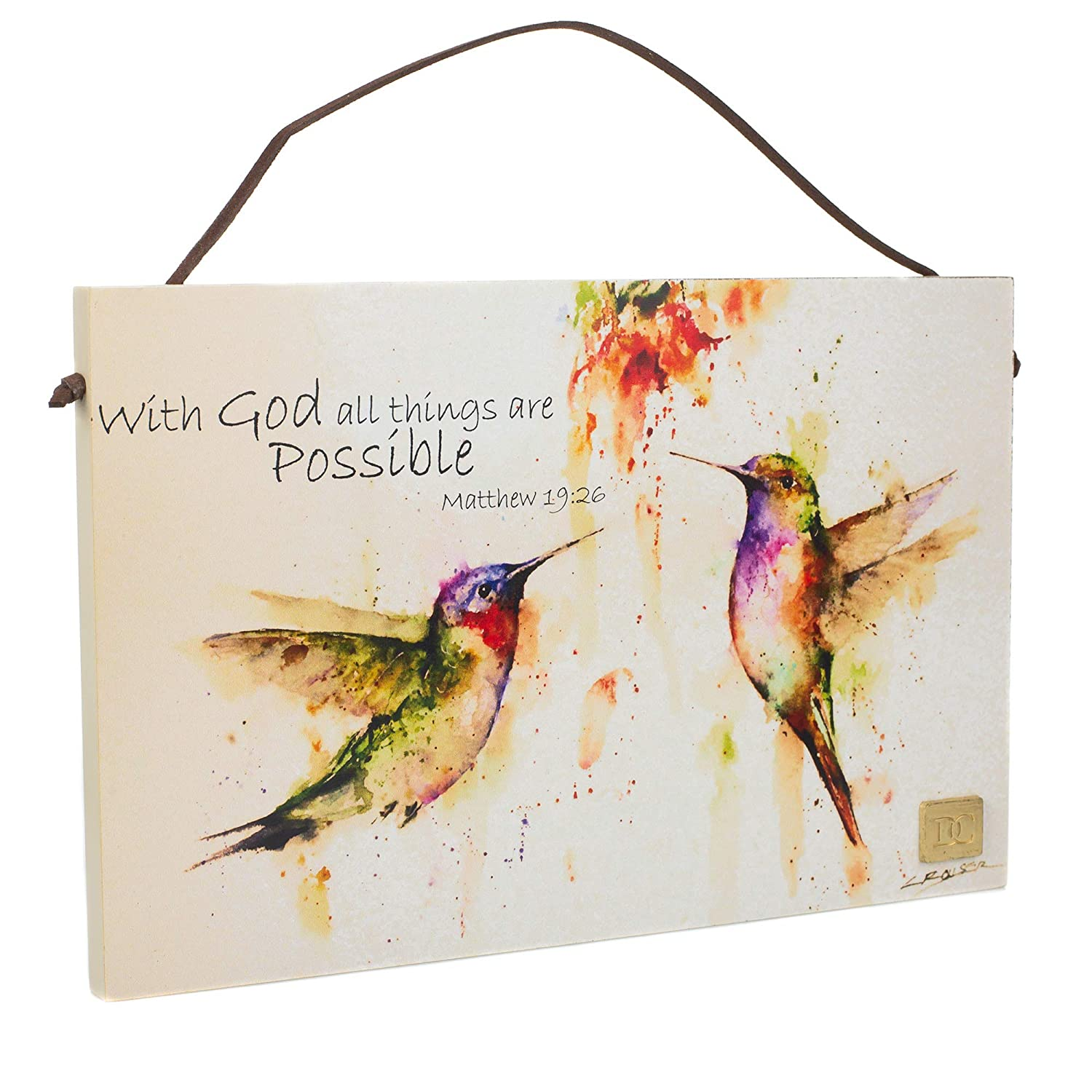 Hummingbird 10 x 6.5 Wrapped Canvas Inspirational Wall Art Plaque