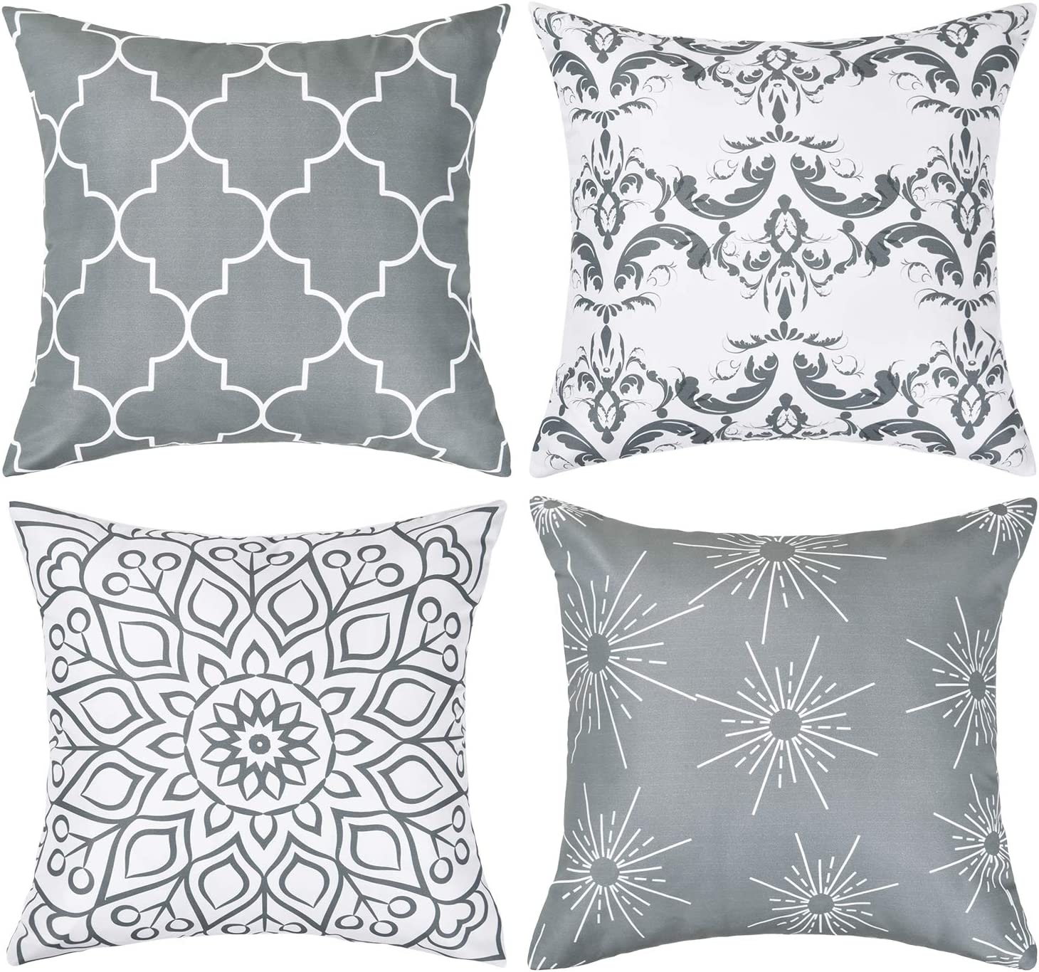 16 x 16 Inch Black BLEUM CADE Set of 4 Throw Pillow Covers Modern Decorative Throw Pillow Case Morocco Pattern Pillow Covers Cushion Case for Room Bedroom Room Sofa Chair Car