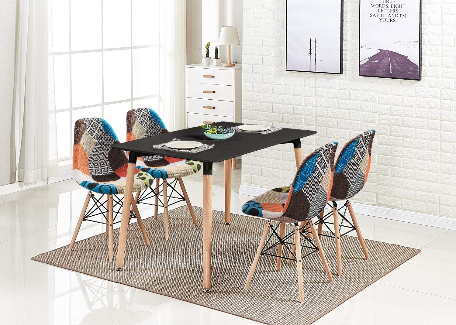 Amazon Com Homesailing Retro Black Wood Dining Table And Chairs Set Of 4 5 Pieces Kitchen Set Including 4 Occasional Patchwork Fabric Chairs With Rectangular Dining Table For Small Space Apartment