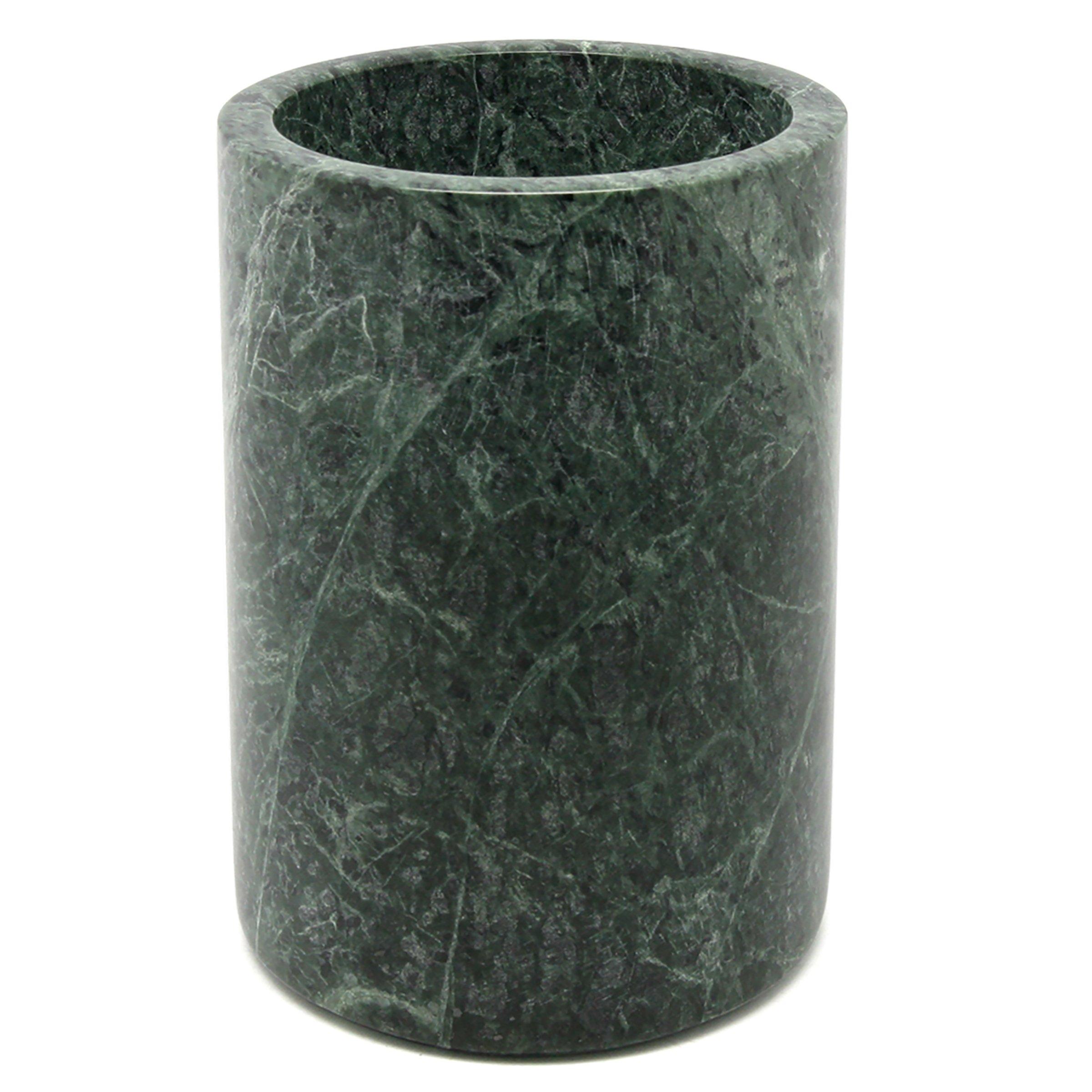Creative Home 74047 Natural Green Marble Stone Tool Crock, Utensil Holder, 5'' Diam. x 7'' H,