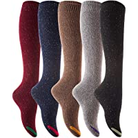 Lian LifeStyle Women's 5 Pairs Knee High Cotton Boot Socks LLS8212 One Size
