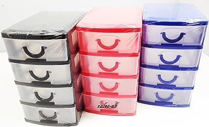PS - Cajas organizadoras para oficina (plástico, 4 cajones), color ...
