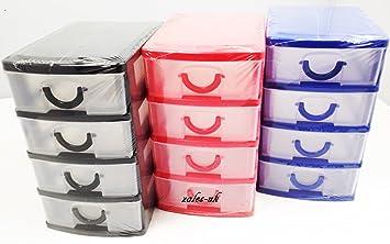 PS - Cajas organizadoras para oficina (plástico, 4 cajones), color azul