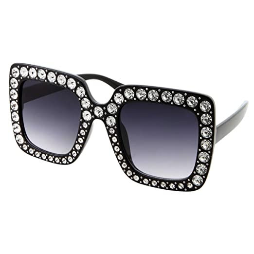 9205ce962e Oversized Square Frame Bling Rhinestone Fashion Crystal Sunglasses For Women  (Black)