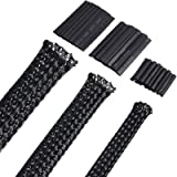 50ft PET Expandable Braided Cable Sleeve, Wire Sleeving with 127 Pieces Heat Shrink Tube for Audio Video and Other Home Devic