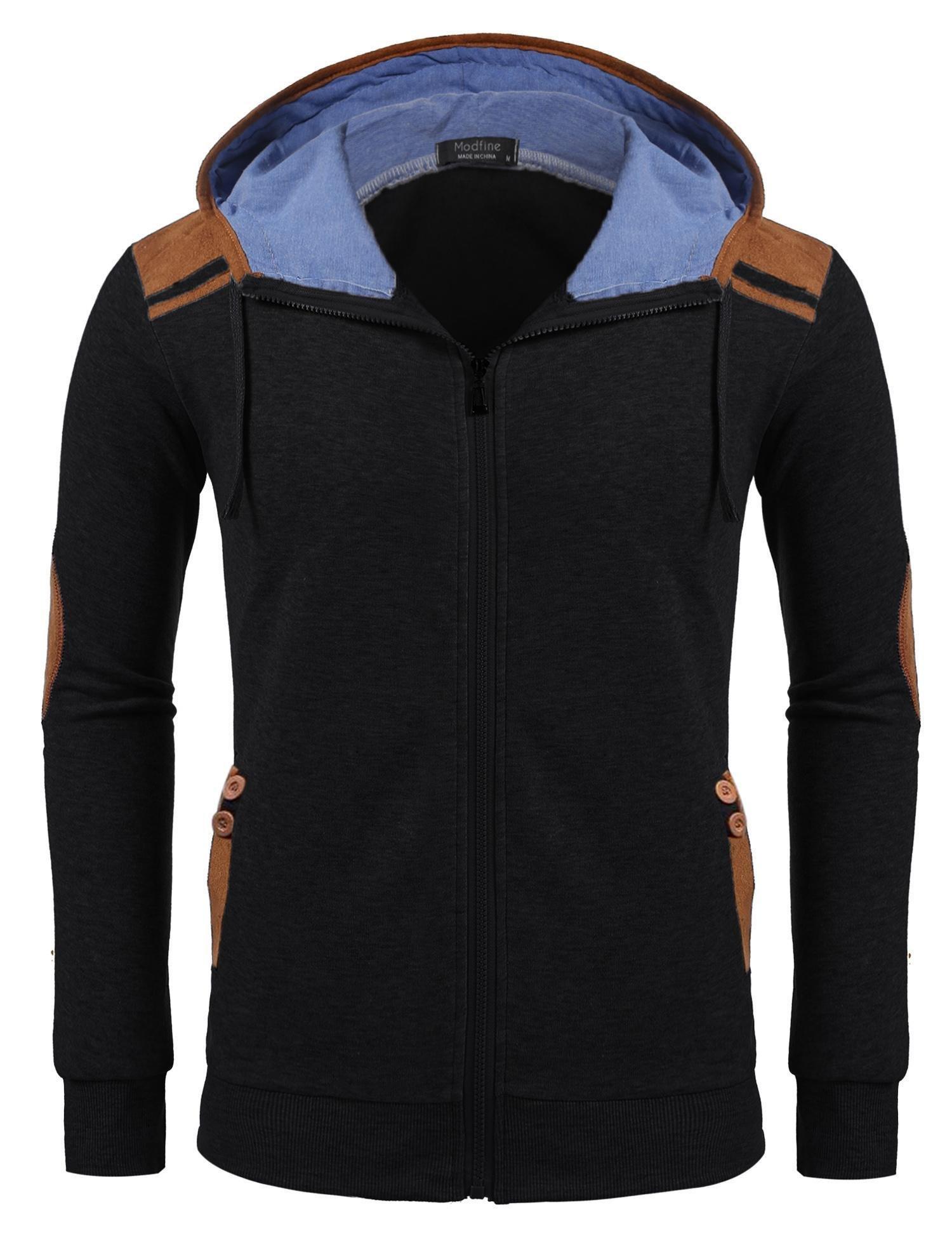 Gotchicon Lightweight Full Zip up Fleece Hoodie Hooded Sweatshirt Jacket for Men(Black,XL) by Gotchicon