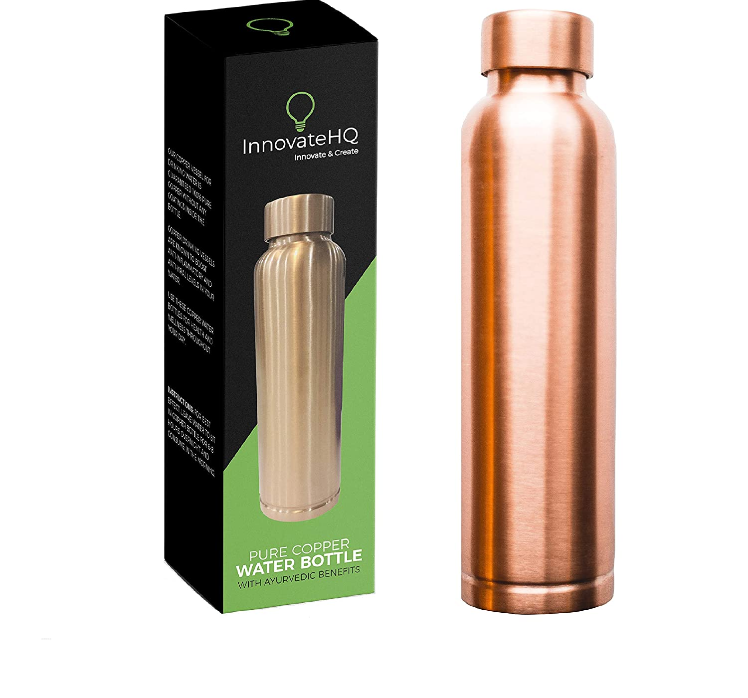34oz Pure Copper Drinking Vessel Anti-Bacterial Copper Bottle Helps for Clear Skin Anti-Oxidant Limited Squeaking from Cap InnovateHQ Copper Water Bottle Ayurvedic Benefits