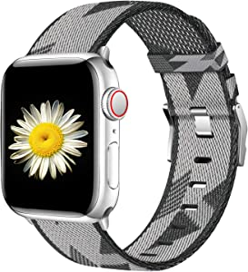 Haveda Fabric Compatible for Apple Watch Series 6 Series 5/4 40mm Band, Soft Wristband for Apple Watch SE, iwatch Bands 40mm Womens, Sport Cloth Dressy for Apple Watch 38mm Series 3 2/1 (Grey White)
