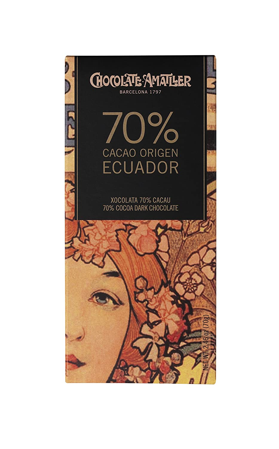 Chocolate Amatller - Tableta de chocolate (70% cacao Ecuador) - 30 tabletas de 70 gr. (Total 2100 gr.): Amazon.es: Alimentación y bebidas