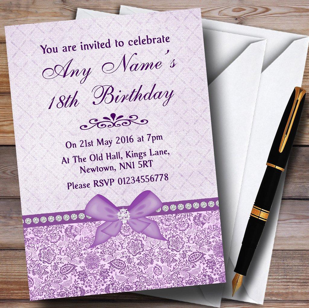 80 Invites & Envelopes Pretty Floral Vintage Bow & Diamante purplec Personalised Birthday Party Invita...