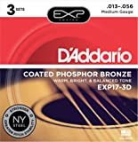 D'Addario EXP17-3D with NY Steel Coated Phosphor Acoustic Guitar Strings, Coated, Medium, 13-56, 3-Sets