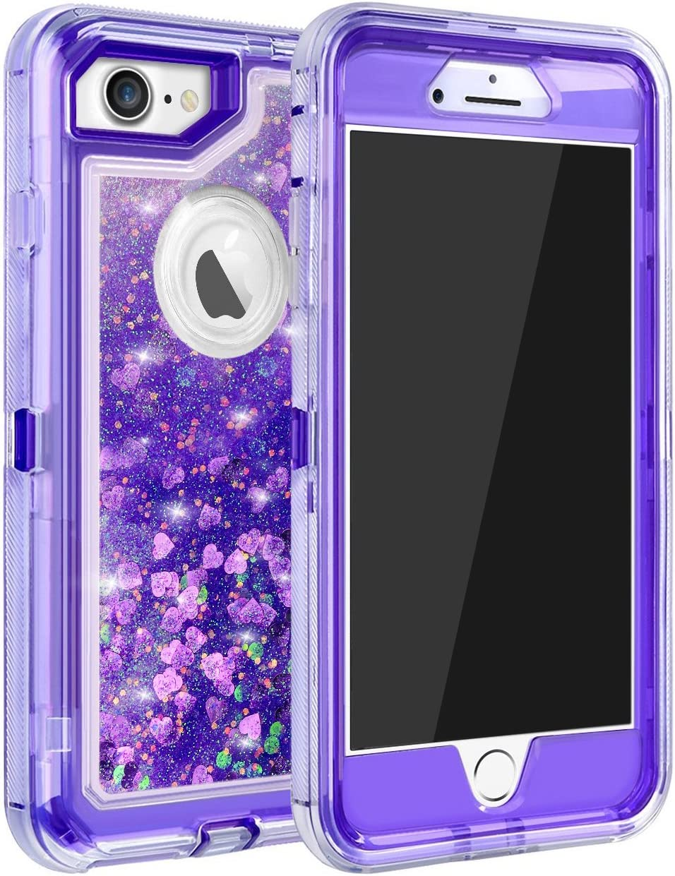 MAXCURY Case for iPhone 7, iPhone 8 Case, Bling Glitter Quicksand Case for iPhone 6s, 3 in 1 Heavy Duty Shockproof Flowing Liquid Protective Defender Clear Case for iPhone 8/7/6/6s - Purple