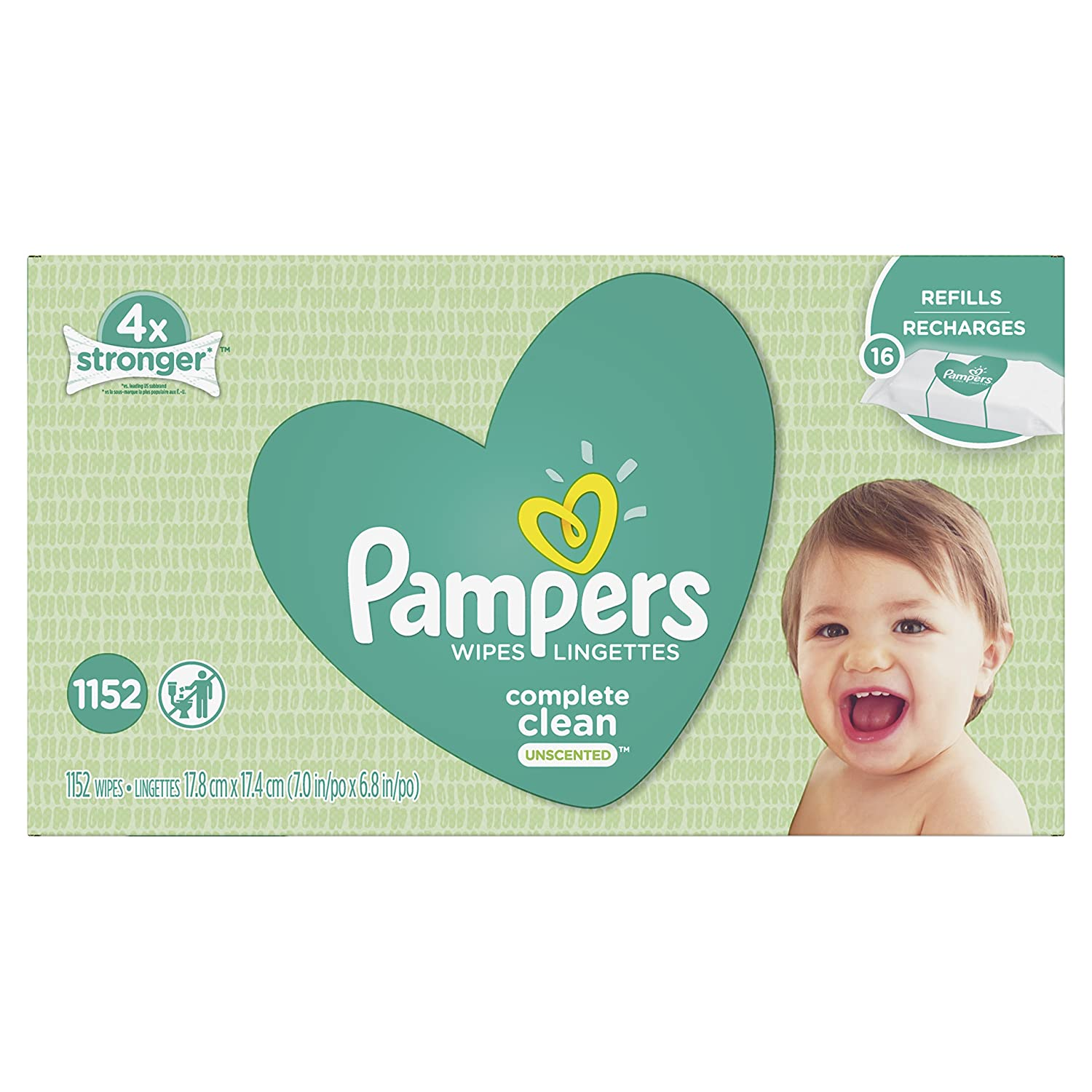 Pampers Baby Wipes Complete Clean UNSCENTED 16X Refill, 1152 Count Procter and Gamble