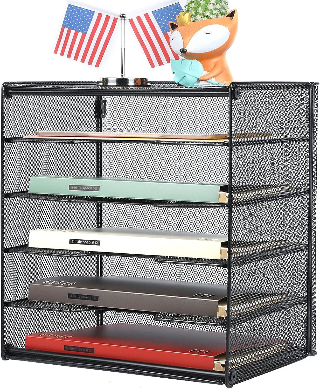 Veesun Paper Letter Tray Organizer, Mesh Desk File Organizer with 5 Tier Shelf Sorter, Black Desktop Organizer : Office Products
