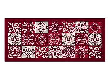 Tapis De Cuisine Antidérapant Motif Faïence By Suardi X Rouge - Faience cuisine et tapis de marche