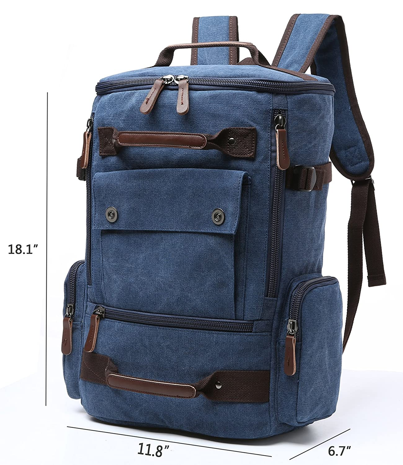bf11f69ef Amazon.com: Canvas Backpack, Aidonger Vintage Canvas School Backpack Hiking  Travel Rucksack Fits 15'' Laptop (Dark Blue): Aidonger Direct