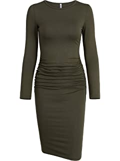 e3188c3adb3 Missufe Women s Long Sleeve Ruched Casual Sundress Midi Bodycon Sheath Dress