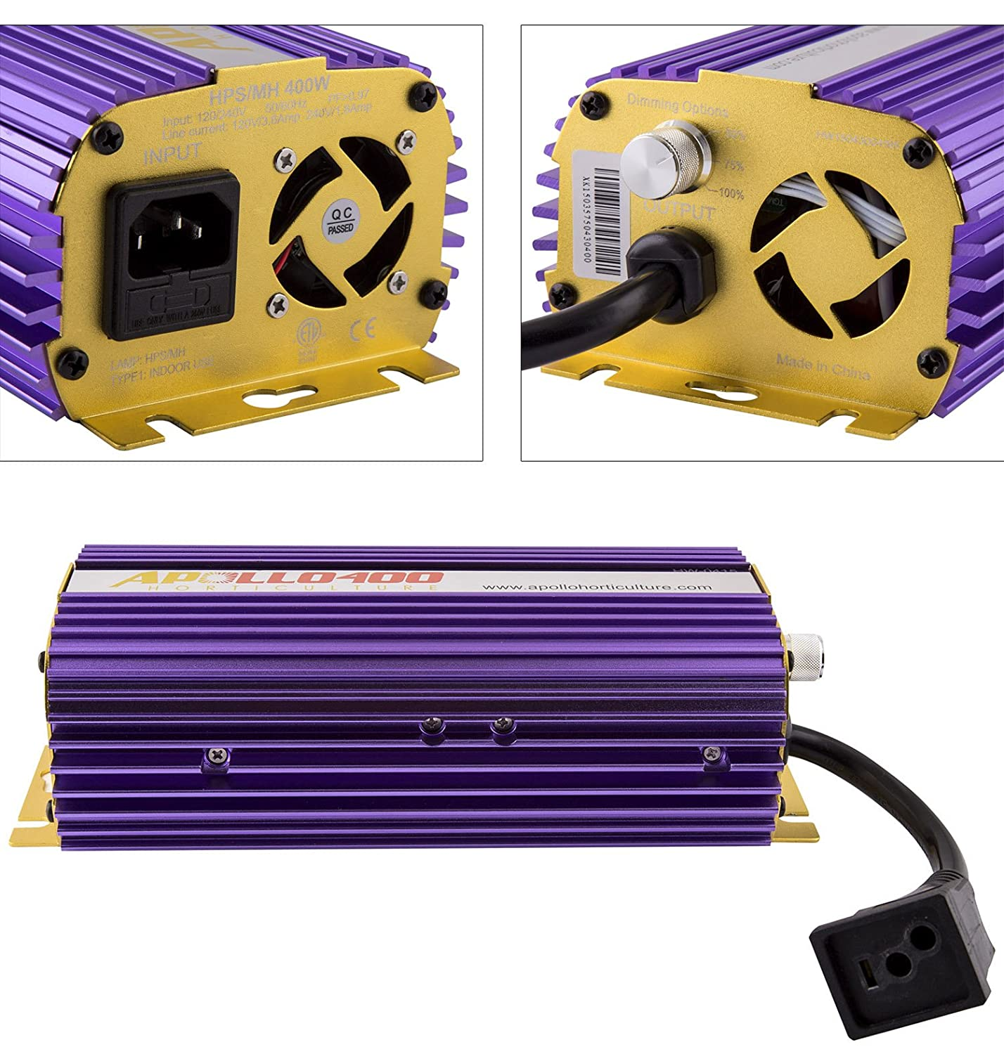 Apollo Horticulture APL400 Hydroponic 400 Watt HPS MH Digital Dimmable Electronic Ballast for Grow Lights