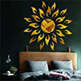 Wall1ders Atulya Arts 3D Acrylic Sun Flame Mirror Decorative Wall Stickers with Extra 10 Butterfly Sticker,(45cm X 45cm)(Gold) - Pack of 25