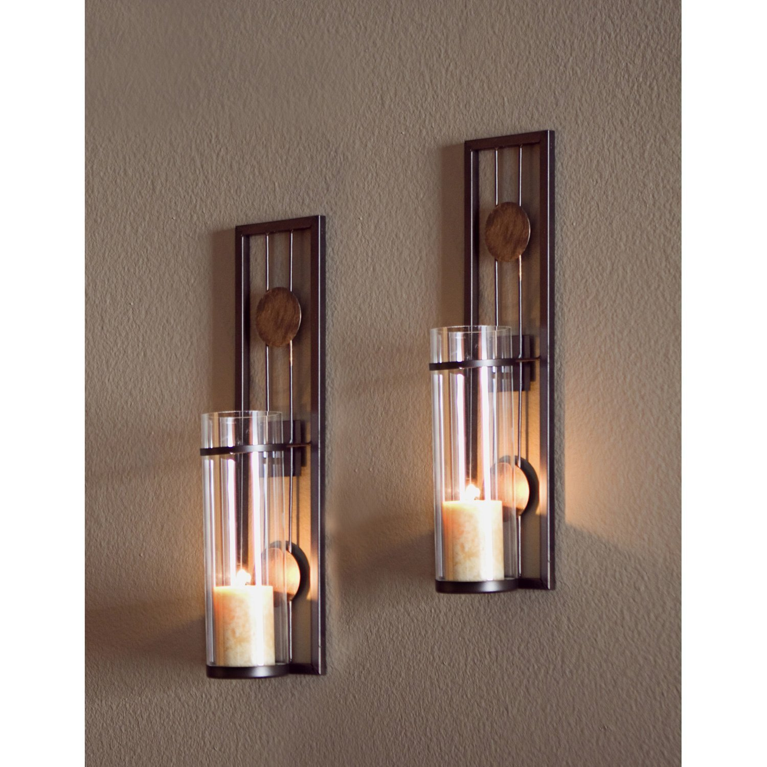 Candle Wall Sconce Set of 2 and Classic Pillar Real Flame-Effect Flameless LED Candles Set 6'' X 2.15'' with Remote and Timer Feature White Color - Set of 2 Metal Iron Glass Home Decor Room Bronze