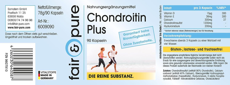 Chondroitin Plus - 90 cápsulas con condroitina, ácido hialurónico, calcio y vitaminas D y E - Sustancia pura: Amazon.es: Salud y cuidado personal